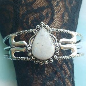 Mystic Genuine Rainbow Moonstone Silver Cuff
